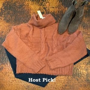 NWT - Francesca's Turtleneck Rust Cropped Sweater